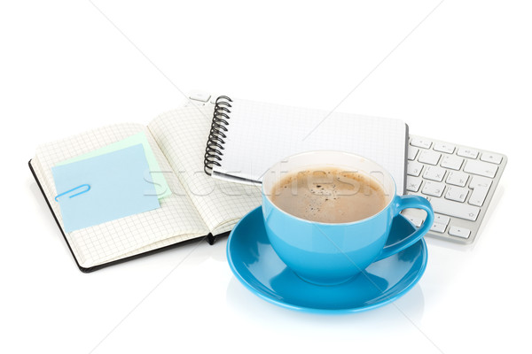 Blue coffee cup and office supplies Stock photo © karandaev