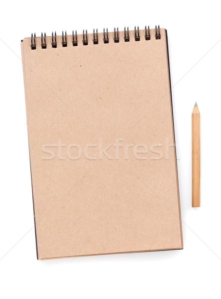 Carta marrone notepad matita isolato bianco business Foto d'archivio © karandaev