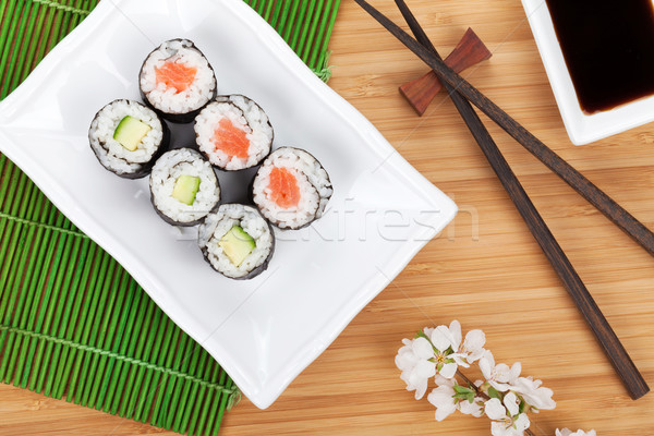 Сток-фото: суши · маки · набор · сакура · филиала · бамбук