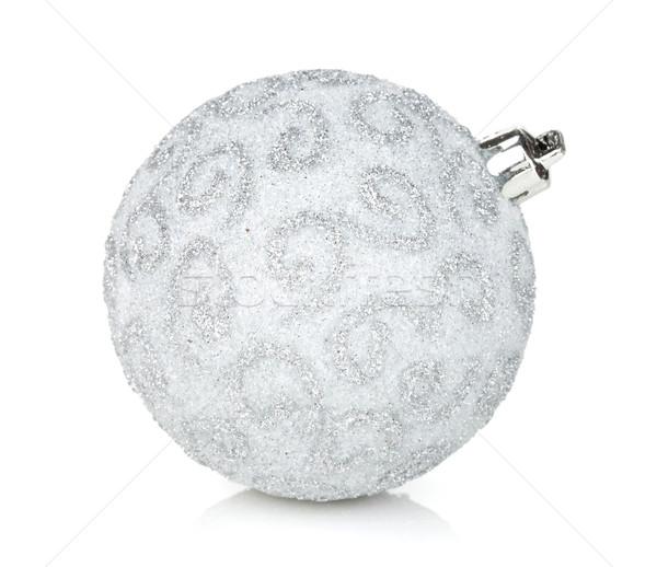 Gümüş Noel önemsiz şey yalıtılmış beyaz cam Stok fotoğraf © karandaev