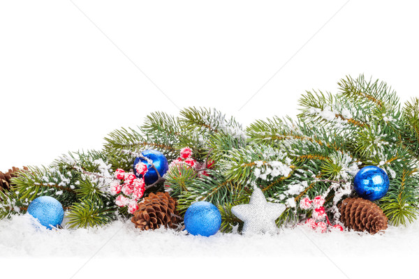 Christmas snow fir tree branch with holly berry and decor Stock photo © karandaev