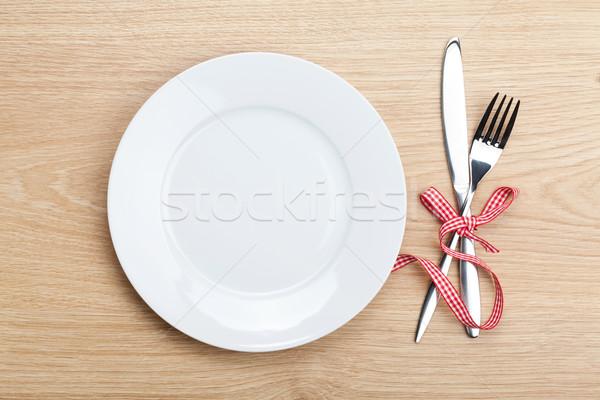 空っぽ プレート 銀食器 木製のテーブル 木材 幸せ ストックフォト © karandaev