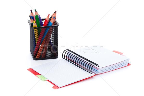 Stock fotó: Színes · ceruzák · iroda · jegyzettömb · izolált · fehér