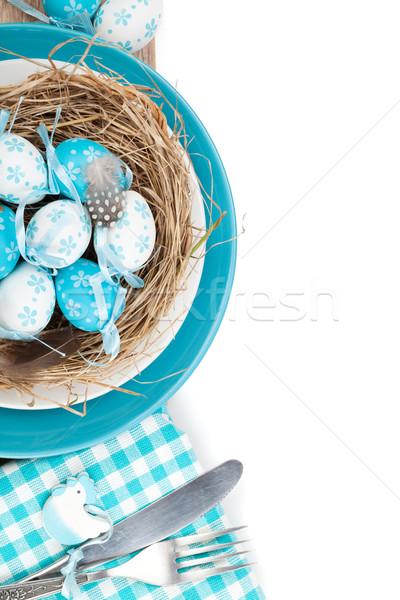 Húsvéti tojások fészek tányér ezüst étkészlet izolált fehér Stock fotó © karandaev