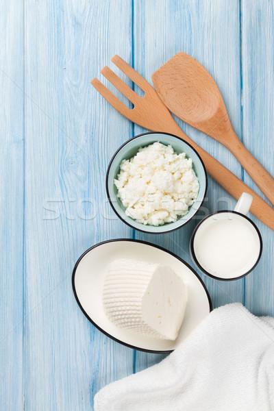Süt peynir ahşap masa üst görmek Stok fotoğraf © karandaev