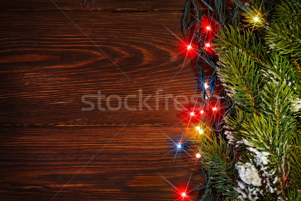Christmas tree branch and lights Stock photo © karandaev