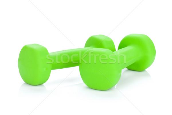 Foto stock: Dos · verde · aislado · blanco · deporte · fondo