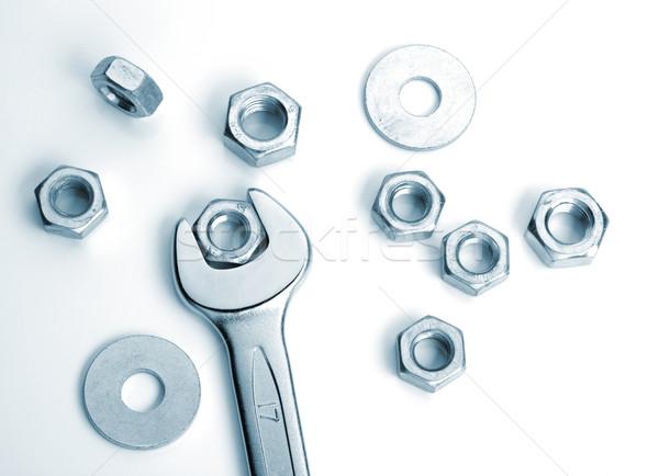 металл орехи гаечный ключ синий работу группа Сток-фото © karandaev