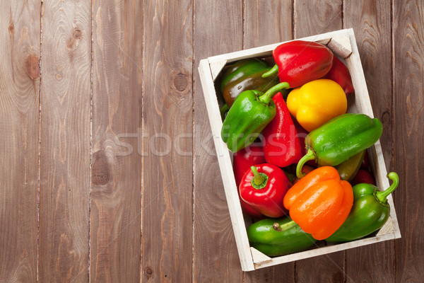 Fresh colorful bell peppers in box Stock photo © karandaev