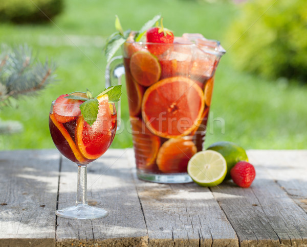 Refreshing fruit sangria (punch) Stock photo © karandaev