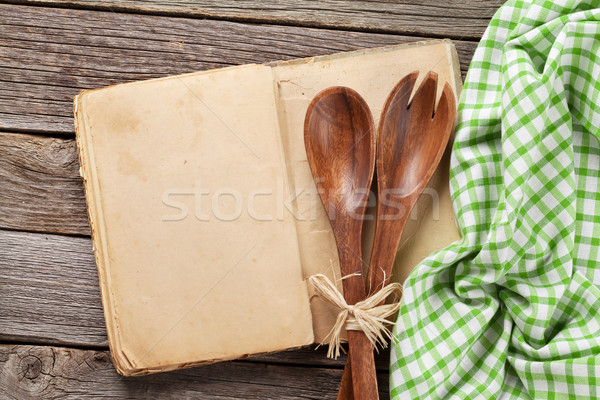 Jahrgang Rezept Kochen Buch Besteck top Stock foto © karandaev