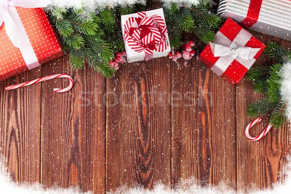 Weihnachten Zweig Holztisch top Stock foto © karandaev