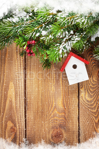 Christmas fir tree and birdhouse decor Stock photo © karandaev