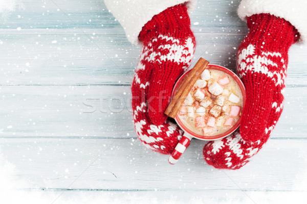 Femminile mani cioccolata calda marshmallow sopra Foto d'archivio © karandaev