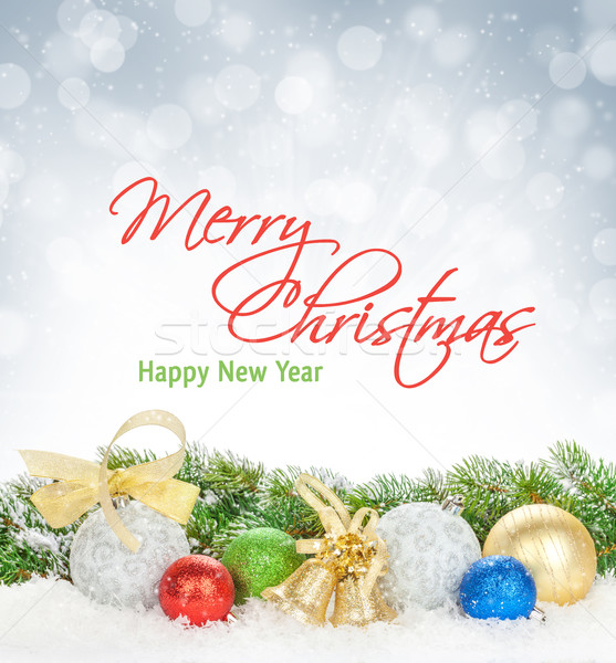 Karácsony színes dekoráció hó fenyőfa bokeh Stock fotó © karandaev