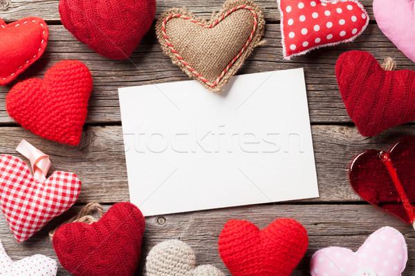 Sevgililer günü tebrik kartı kalpler şeker kalp kâğıt Stok fotoğraf © karandaev