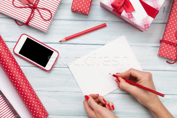 女性 書く クリスマス グリーティングカード ラッピング クリスマス ストックフォト © karandaev