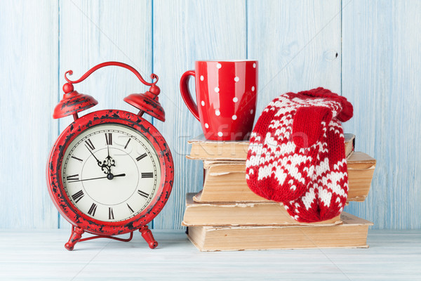 Natale sveglia cioccolata calda muffole clock abstract Foto d'archivio © karandaev