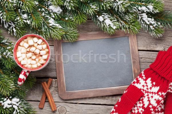 Рождества горячий шоколад варежки доске Сток-фото © karandaev