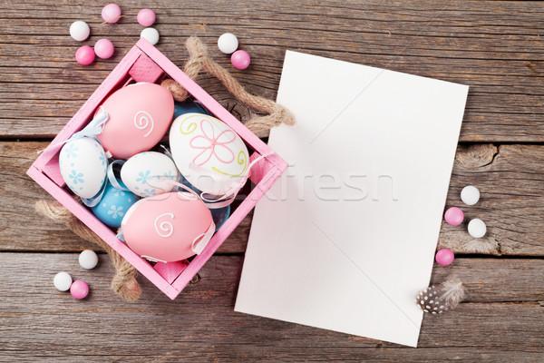 Easter eggs and greeting card Stock photo © karandaev