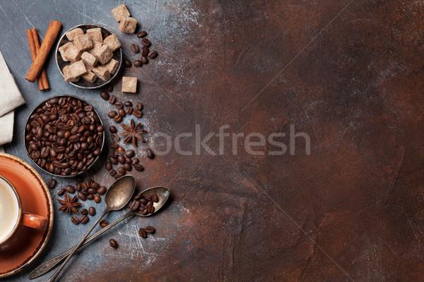 Taza de café frijoles azúcar superior vista espacio Foto stock © karandaev
