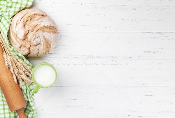 Homemade crusty bread and milk Stock photo © karandaev