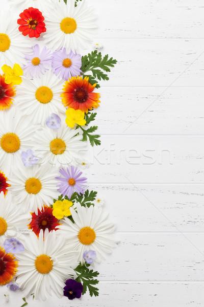 Kert virágok fából készült felső kilátás copy space Stock fotó © karandaev