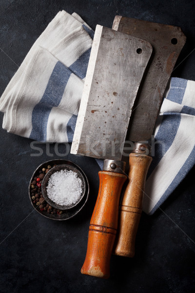 Butcher. Vintage meat knives Stock photo © karandaev