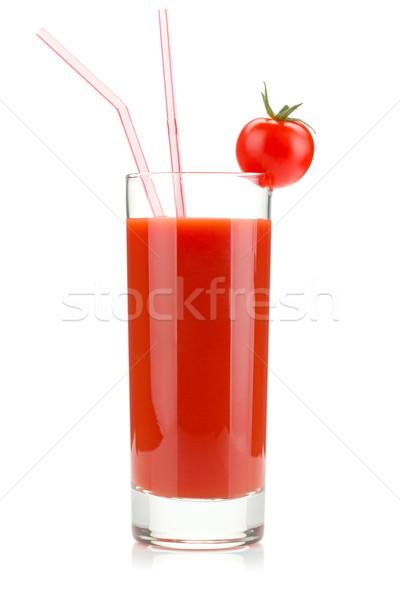 トマトジュース ガラス 孤立した 白 食品 緑 ストックフォト © karandaev