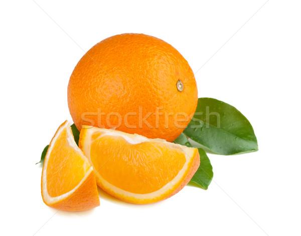 świeże soczysty pomarańcze zielone odizolowany biały Zdjęcia stock © karandaev