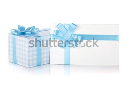 Сток-фото: шкатулке · письме · лента · лук · изолированный · белый