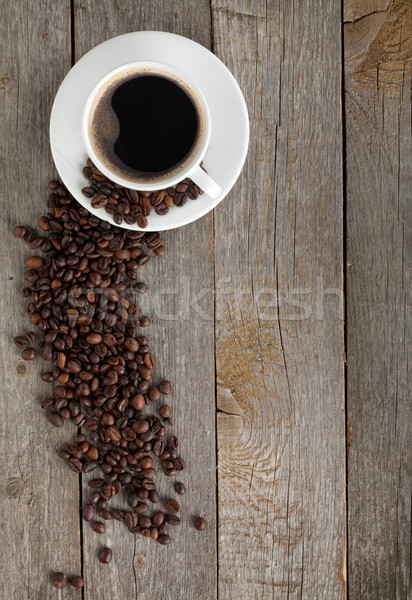 чашку кофе бобов деревянный стол копия пространства продовольствие древесины Сток-фото © karandaev