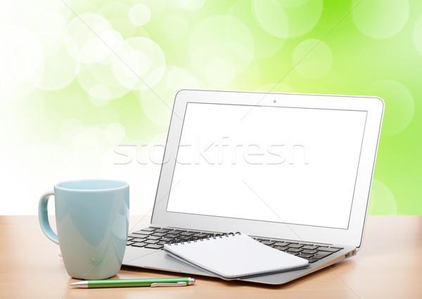 Dizüstü bilgisayar ekran fincan tablo kahve Stok fotoğraf © karandaev