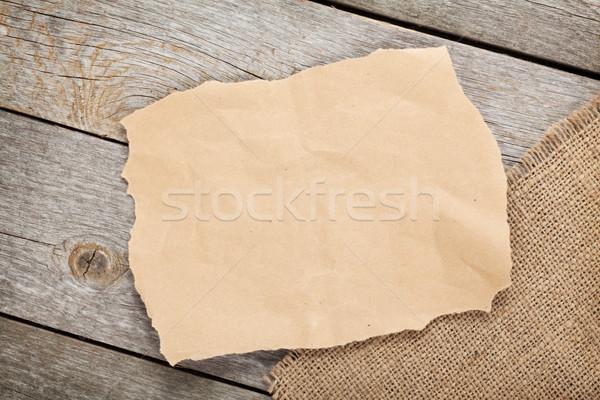 Régi papír darab zsákvászon fából készült mintázott copy space Stock fotó © karandaev