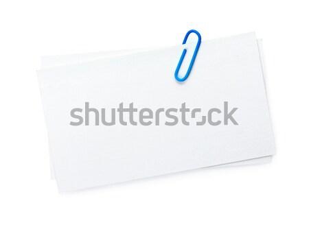 Névjegyek iroda gemkapocs izolált fehér üzlet Stock fotó © karandaev