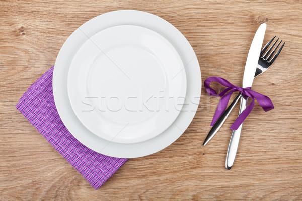 вилка ножом пластин салфетку деревянный стол продовольствие Сток-фото © karandaev