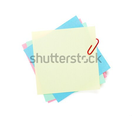 Colorful post-it notes with clip Stock photo © karandaev