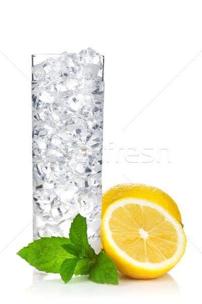 Glas water ijs citroen mint geïsoleerd Stockfoto © karandaev