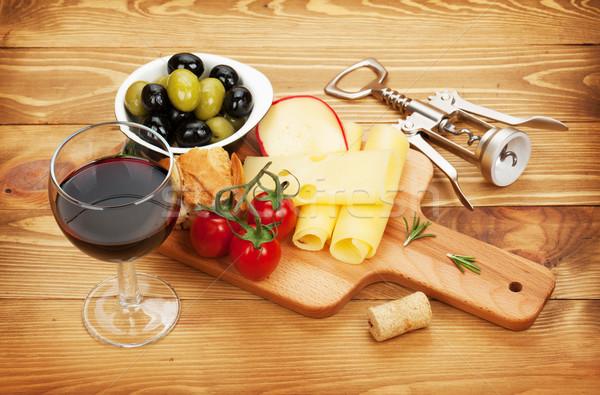 Foto stock: Vino · tinto · queso · aceitunas · pan · hortalizas · especias