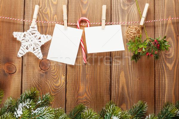 Stock fotó: Hó · fenyőfa · fényképkeret · karácsony · dekoráció · kötél