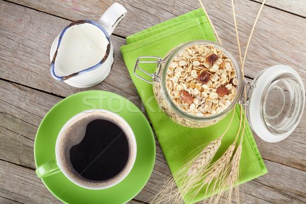 Gezonde ontbijt müsli melk koffiekopje houten tafel Stockfoto © karandaev