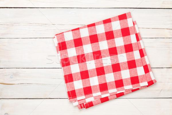 赤 タオル 木製 台所用テーブル コピースペース ストックフォト © karandaev
