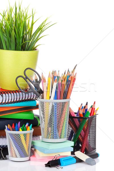 Okul yalıtılmış beyaz kalem öğrenci Stok fotoğraf © karandaev
