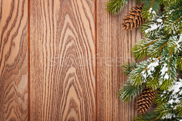 Noël bois neige fond cadre Photo stock © karandaev