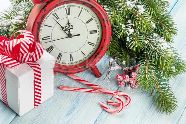 Noël coffret cadeau réveil bonbons canne Photo stock © karandaev
