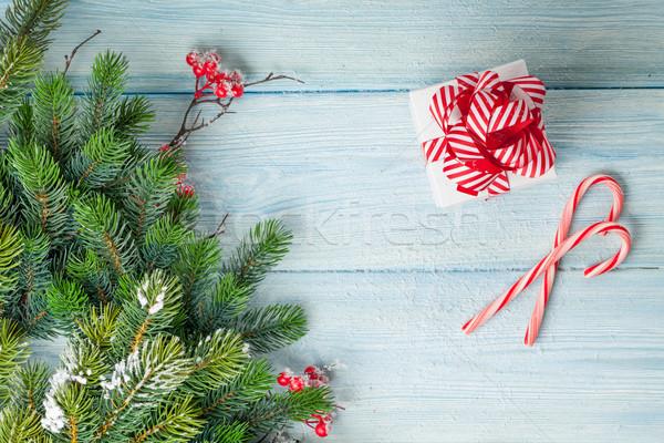 Christmas geschenkdoos snoep riet tak Stockfoto © karandaev