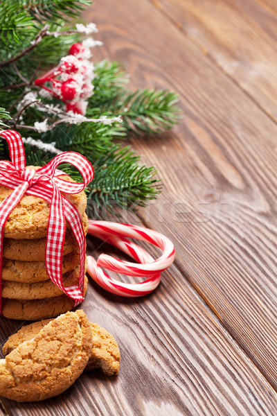 Stockfoto: Christmas · peperkoek · cookies · snoep · riet · boom