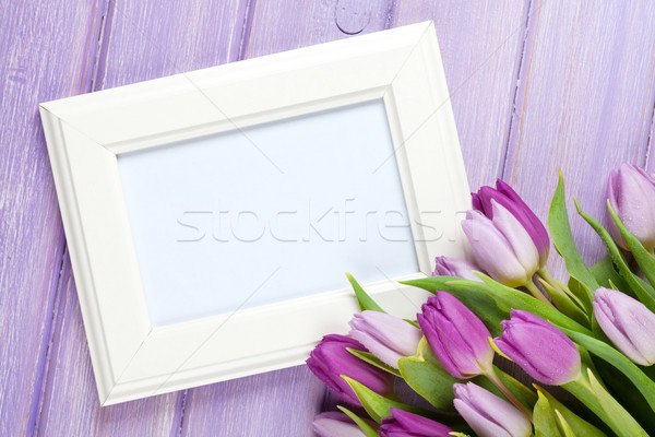 Purple tulip bouquet and blank photo frame Stock photo © karandaev