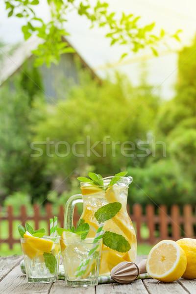 Limonade Gläser Zitrone mint Eis Garten Stock foto © karandaev