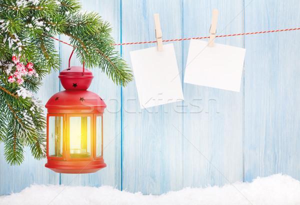 Karácsony gyertya lámpás fotó keret fa Stock fotó © karandaev